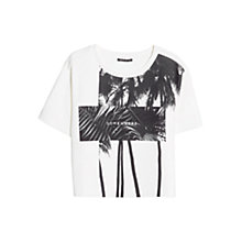 Buy Mango Palm Neoprene-Effect T-Shirt, White Online at johnlewis.com