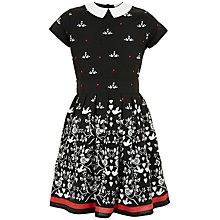 Buy Yumi Girl Birdie Print Dress, Black Online at johnlewis.com