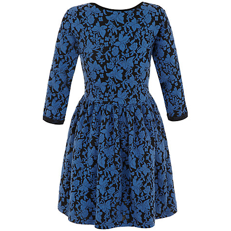 Buy Yumi Girl Textured Butterfly Jersey Dress, Blue Online at johnlewis.com