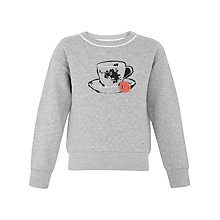 Buy Yumi Girl Tea Cup Print Quilted Jumper, Grey Online at johnlewis.com