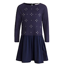 Buy John Lewis Girl Embellished Jersey Dress, Navy Online at johnlewis.com