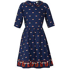 Buy Yumi Girl Repeat Fox Print Collared Dress, Navy Online at johnlewis.com