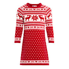 Buy John Lewis Girl Christmas Knitted Fair Isle Dress, Red/White Online at johnlewis.com