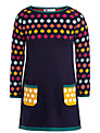 John Lewis Girl Spot Knit Dress, Navy/Multi