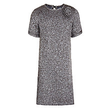 Buy John Lewis Girl Sequin Knit Short Sleeve Dress, Silver Online at johnlewis.com