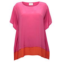 Buy East Colour Block Silk Top, Azalea Online at johnlewis.com