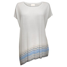 Buy East Stripe Linen Blend Asymmetric Jumper, White Online at johnlewis.com