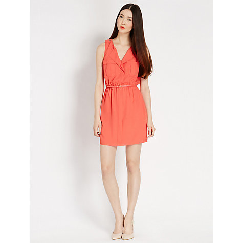 Buy Oasis Plain Sleeveless Shirt Dress, Coral Online at johnlewis.com