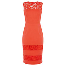 Buy Oasis Alba Lace Pencil Dress, Bright Orange Online at johnlewis.com