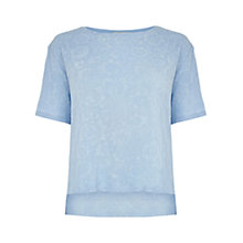 Buy Oasis Jacquard Boxy T-Shirt, Mid Blue Online at johnlewis.com