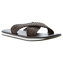 Buy Dune Isaac Leather Woven Sandals, Brown Online at johnlewis.com