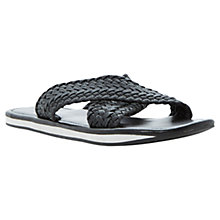 Buy Dune Isaac Leather Woven Sandals, Black Online at johnlewis.com