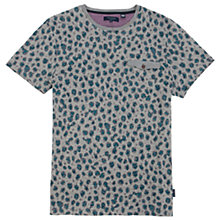 Buy Ted Baker Colton Leopard Print Short Sleeve T-Shirt, Teal/Grey Online at johnlewis.com