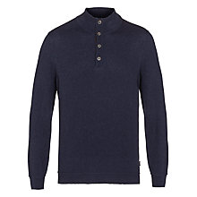 Buy BOSS Derek Button Neck Jersey Top, Navy Online at johnlewis.com