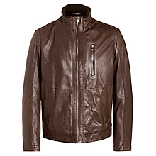 Buy BOSS Aicon Goatskin Leather Jacket, Brown Online at johnlewis.com