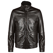 Buy BOSS Tiwa Lamb Leather Jacket, Brown Online at johnlewis.com