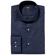 Buy BOSS Jason Micro Square Check Shirt, Navy Online at johnlewis.com