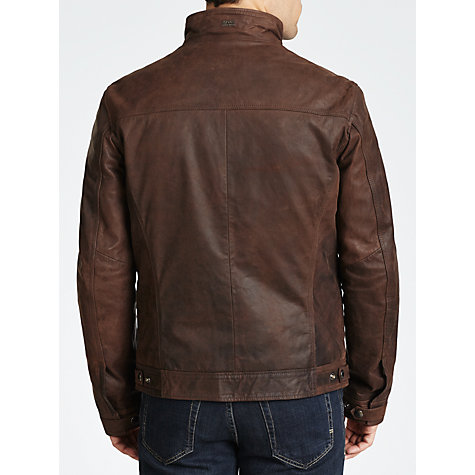 Buy BOSS Alven Nubuck Leather Jacket, Brown Online at johnlewis.com