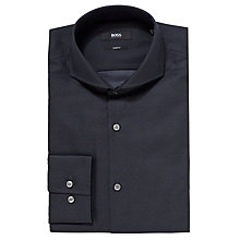 Buy BOSS Dwayne Dobby Pattern Shirt, Black Online at johnlewis.com