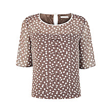 Buy Jacques Vert Layered Spot Blouse, Light Brown Online at johnlewis.com