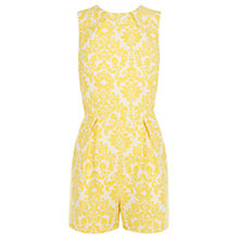 Buy Warehouse Jacquard Playsuit, Yellow Online at johnlewis.com