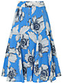 Phase Eight Poppy Print Skirt, Azure/White