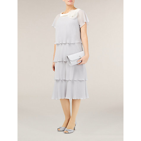 Buy Jacques Vert Layered Chiffon Dress, Dove Online at johnlewis.com