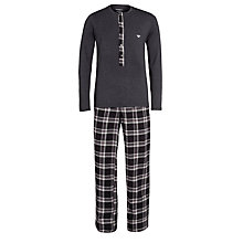 Buy Emporio Armani Cotton Tartan Pyjama Set, Grey Online at johnlewis.com