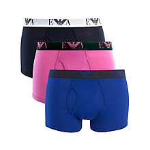 Buy Emporio Armani Cotton Trunks, Pack of 3, Pink/Navy/Blue Online at johnlewis.com