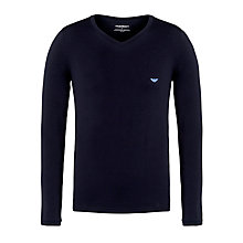 Buy Emporio Armani Cotton Long Sleeve T-Shirt, Blue Online at johnlewis.com