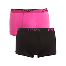 Buy Emporio Armani Cotton Stretch Trunks, Pack of 2, Black/Pink Online at johnlewis.com