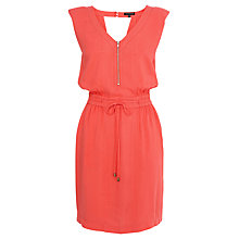 Buy Warehouse Padded Shoulder Sporty Dress, Coral Online at johnlewis.com