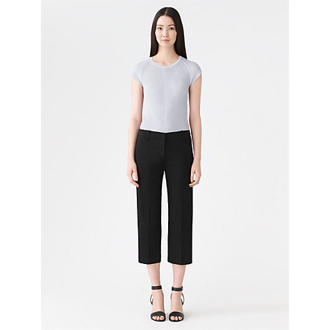 Buy Jigsaw Stretch Sateen Cropped Trousers, Navy Online at johnlewis.com