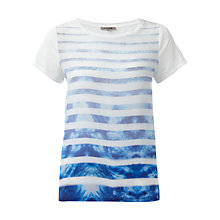 Buy Jigsaw Batik Stripe Silk Front T-Shirt, Blue Online at johnlewis.com