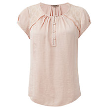 Buy Jigsaw Crocus Drape Lace Top, Vintage Pink Online at johnlewis.com