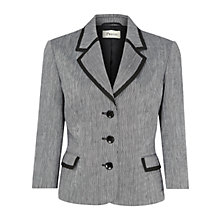 Buy Precis Petite Pinstripe Crinkle Jacket, Black / White Online at johnlewis.com