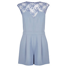 Buy Warehouse Mesh Lace Playsuit, Light Grey Online at johnlewis.com