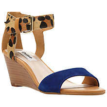 Buy Dune Ginni  Leather Wedge Heeled Sandals, Leopard/Blue Online at johnlewis.com