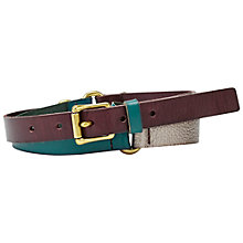 Buy Fossil Colourblock Keeper Leather Jean Fit Belt, Raisin Online at johnlewis.com