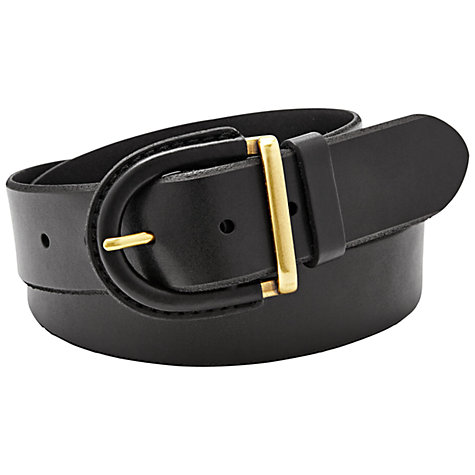 Buy Fossil Leather Covered Buckle Belt, Black Online at johnlewis.com