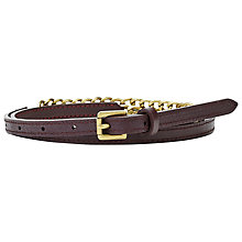 Buy Fossil Chain Leather Skinny Jean Fit Belt Online at johnlewis.com
