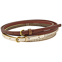 Buy Fossil Skinny Leather Belt Set Online at johnlewis.com