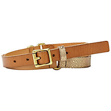 Buy Fossil Colour Block Key-Per Jean Fit Belt, Brown Online at johnlewis.com