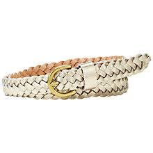 Buy Fossil Woven Leather Jean Fit Belt, Metallic Gold Online at johnlewis.com