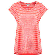 Buy Whistles Faye Stripe Marl T-Shirt, Coral Online at johnlewis.com