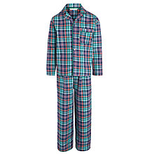 Buy John Lewis Boy Brushed Check Pyjamas, Blue/Green Online at johnlewis.com