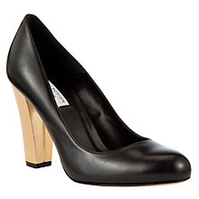 Buy COLLECTION by John Lewis Fior Metallic Heel Leather Court Shoes, Black Online at johnlewis.com