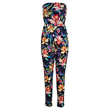 Buy Miss Selfridge Tropical Straight Leg Jumpsuit, Black/Multi Online at johnlewis.com