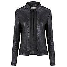Buy Planet Edge to Edge Leather Jacket, Black Online at johnlewis.com