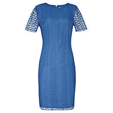 Buy Reiss Larkies Lace Overlay Dress, Bright Blue Online at johnlewis.com